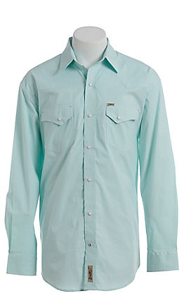 Rafter C ProFlex Stretch Men's White And Mint Striped Long Sleeve Western Shirt
