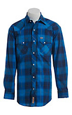 Rafter C ProFlex Stretch Men's Blue Dobby Plaid Long Sleeve Western Shirt