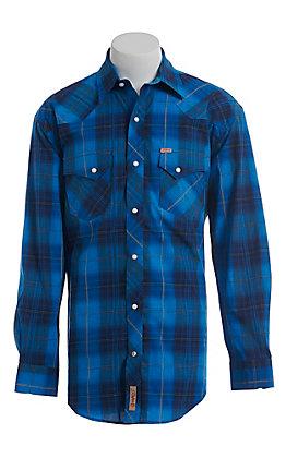 Rafter C ProFlex Stretch Men's Blue Dobby Plaid Long Sleeve Western Shirt