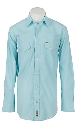 Rafter C ProFlex Stretch Men's Aqua Mini Gingham Print Long Sleeve Western Shirt