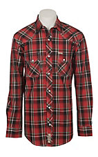 Rafter C ProFlex Stretch Men's Red Plaid Print Long Sleeve Western Shirt