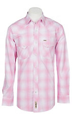 Rafter C Men's Stretch Pink Plaid Long Sleeve Sleeve Western Snap Shirt