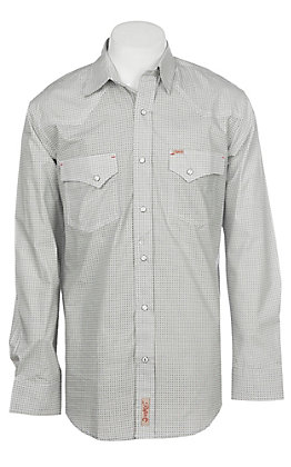 Rafter C Men's Stretch Black and White Geo Print Western Snap Shirt