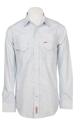 Rafter C Men's Stretch Light Blue Paisley Print Western Snap Shirt - Big & Tall