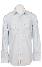 Rafter C Men's Stretch Light Blue Paisley Print Western Snap Shirt