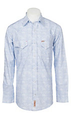 Rafter C Men's Stretch Distressed Blue Paisley Print Western Snap Shirt