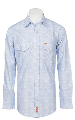 9ad1382d Rafter C Men's Stretch Distressed Blue Paisley Print Western Snap Shirt