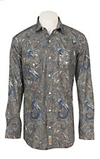Rafter C Men's Stretch Blue Paisley Print Western Snap Shirt