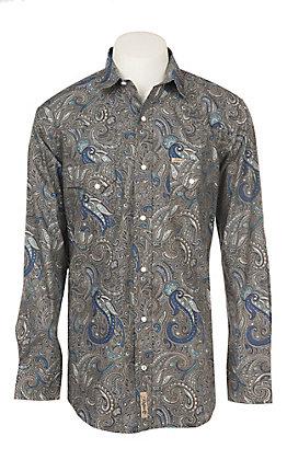 Rafter C Men's Stretch Blue Paisley Print Western Snap Shirt