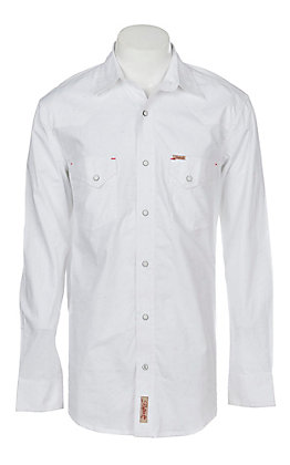 Rafter C Men's Stretch White Multi Colored Chambray Long Sleeve Western Snap Shirt
