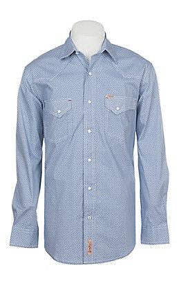 Rafter C ProFlex Stretch Men's Blue Star Geo Print Long Sleeve Western Shirt - Big & Tall