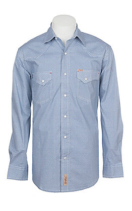 Rafter C ProFlex Stretch Men's Blue Star Geo Print Long Sleeve Western Shirt