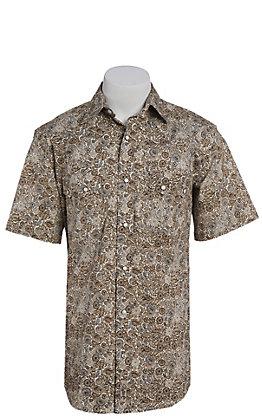 Rafter C ProFlex Stretch Men's Brown Paisley Print Short Sleeve Western Shirt - Big & Tall