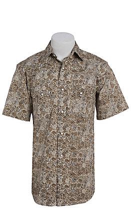 Rafter C ProFlex Stretch Men's Brown Paisley Print Short Sleeve Western Shirt