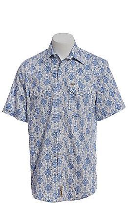 Rafter C ProFlex Men's White With Blue Geo Print Short Sleeve Western Shirt