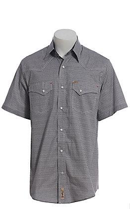 Rafter C ProFlex Stretch Men's Black and Grey Mini Geo Print Short Sleeve Western Shirt - Big & Tall