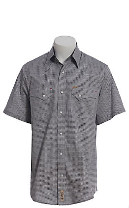 Rafter C ProFlex Stretch Men's Black and Grey Mini Geo Print Short Sleeve Western Shirt