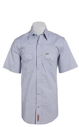 Rafter C ProFlex Stretch Men's Blue and White Geo Print Short Sleeve Western Shirt