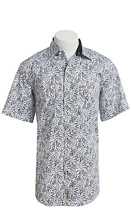 Rafter C ProFlex Stretch Men's Black With White Bandanna Paisley Print Short Sleeve Western Shirt