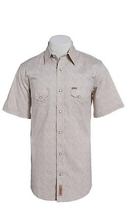 Rafter C ProFlex Stretch Men's Grey and White Paisley Print Short Sleeve Western Shirt - Big & Tall