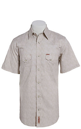 Rafter C ProFlex Stretch Men's Grey and White Paisley Print Short Sleeve Western Shirt