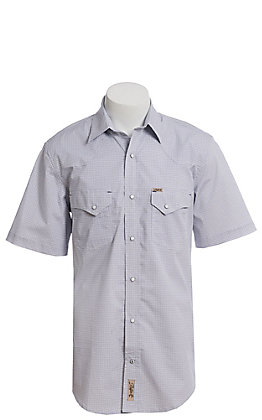 Rafter C ProFlex Stretch Men's White With Blue Grey Mini Geo Print Short Sleeve Western Shirt