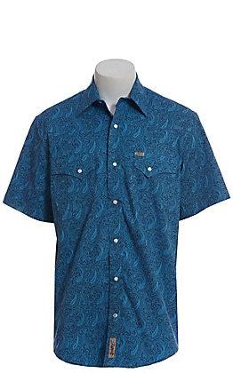 Rafter C ProFlex Stretch Men's Blue Paisley Print Short Sleeve Western Shirt