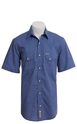 Rafter C ProFlex Stretch Men's Navy Blue Round Mini Geo Print Short Sleeve Western Shirt