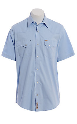 Rafter C ProFlex Men's Light Blue Diamond Mini Print Short Sleeve Western Shirt - Big & Tall
