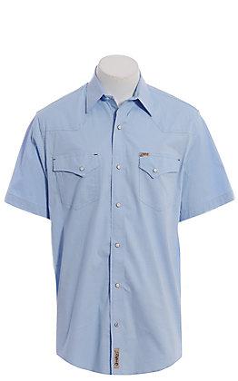 Rafter C ProFlex Men's Light Blue, Diamond Mini Print Short Sleeve Western Shirt