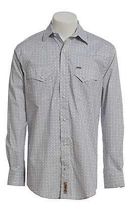Rafter C ProFlex Stretch Men's Black and Blue Geo Print Long Sleeve Western Shirt