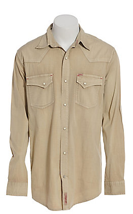 Rafter C ProFlex Performance Stretch Men's Solid Tan Long Sleeve Western Shirt