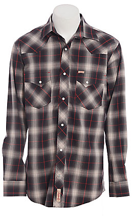 Rafter C ProFlex Stretch Men's Black, Red & Grey Plaid Long Sleeve Western Shirt