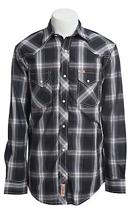 Rafter C ProFlex Stretch Men's Grey And Black Plaid Long Sleeve Western Shirt