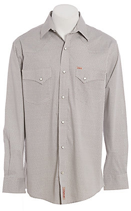 Rafter C ProFlex Stretch Men's White Geo Print Long Sleeve Western Shirt