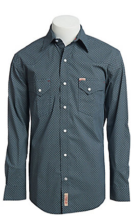 Rafter C ProFlex Stretch Men's Grey And Black Medallion Print Long Sleeve Western Shirt - Big & Tall