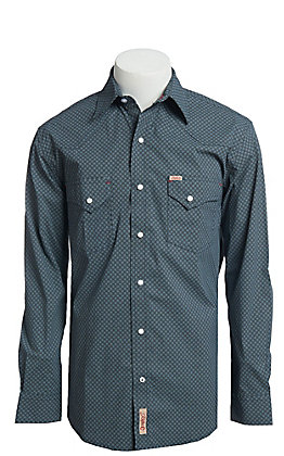 Rafter C ProFlex Stretch Men's Grey And Black Medallion Print Long Sleeve Western Shirt