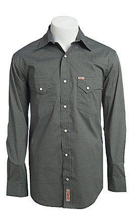 Rafter C ProFlex Stretch Men's Grey Geo Print Long Sleeve Western Shirt - Big & Tall
