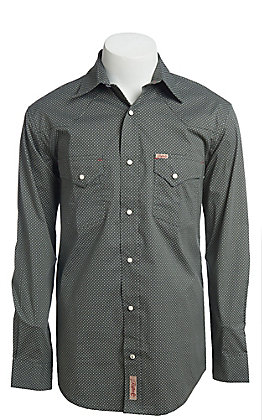 Rafter C ProFlex Stretch Men's Grey Geo Print Long Sleeve Western Shirt
