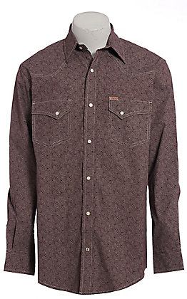Rafter C ProFlex Men's Maroon Paisley Long Sleeve Western Shirt - Big & Tall