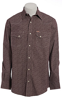 Rafter C ProFlex Men's Maroon Paisley Long Sleeve Western Shirt