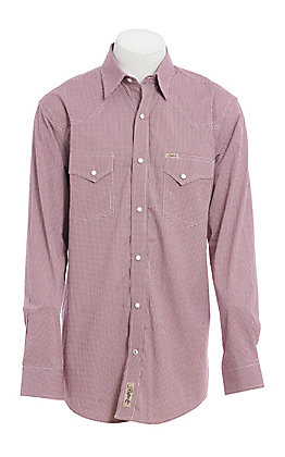 Rafter C ProFlex Stretch Men's Red Mini Gingham Print Long Sleeve Western Shirt