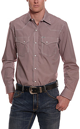 Rafter C Easy Wear 45 Men's Maroon Gingham Wrinkle Free Long Sleeve Western Shirt