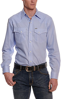 Rafter C Easy Wear 45 Men's Blue and White Stripes Wrinkle Free Long Sleeve Western Shirt