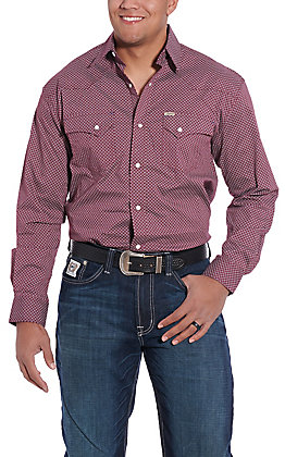 Rafter C ProFlex45 Men's Burgundy Print Long Sleeve Western Shirt