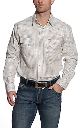 Rafter C ProFlex45 Men's White Geo Print Long Sleeve Western Shirt