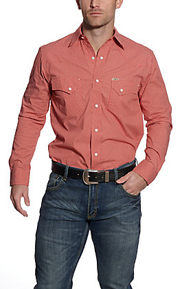 Rafter C ProFlex45 Men's Red with White Mini Print Long Sleeve Western Shirt