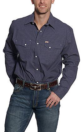 Rafter C ProFlex45 Men's Navy Geo Print Long Sleeve Western Shirt