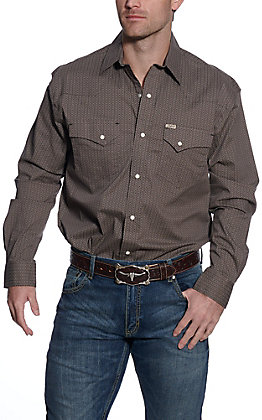 Rafter C ProFlex Men's Grey with Circle Print Long Sleeve Stretch Western Shirt