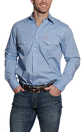 Rafter C ProFlex45 Men's Light Blue with Navy Diamond Print Long Sleeve Western Shirt